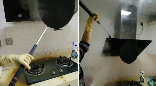 清洗油烟机是为了保证其干净状态,而高温清洗蒸汽发生器清洗油烟机