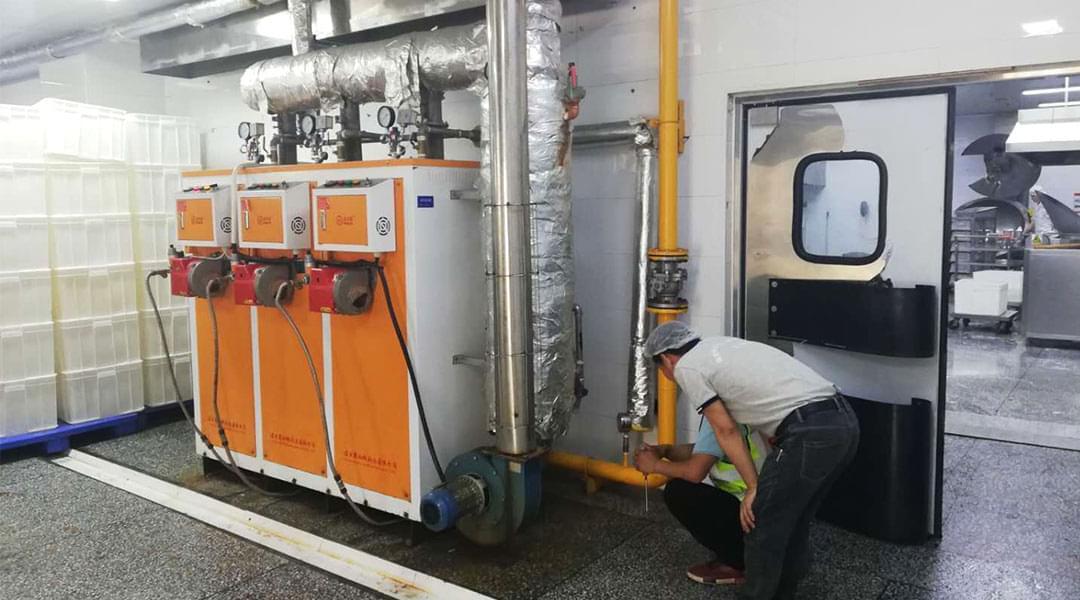 湖南诺贝思燃气蒸汽发生器配套洗箱机使用案例